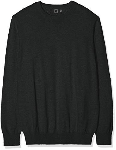 Marca Amazon - MERAKI Jersey de Algodón Hombre Cuello Redondo, Gris (Charcoal), M, Label: M