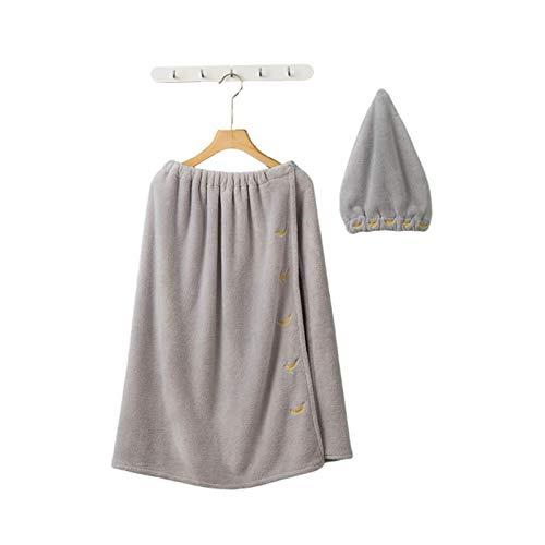 Wrap & Hair Turban Set Microfibra Ajustable Ducha Wrap and Seco Hair Towels Ducha Cubierta de Ducha Bañera Wrap Wrap Falda y Secado del Cabello Turbante para Bath Ducha SPA (Color : Grey)