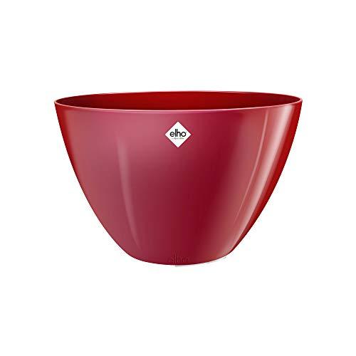 Elho Brussels Diamond Ovale Haut 36 - Pot De Fleurs - Lovely Rouge - Intérieur - Ø 35.9 x H 23.5 cm