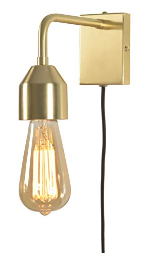 it's about RoMi MADRID Wandleuchte mit Stecker, Lampe für die Wand mit Schalter, E27, 60 Watt (Gold)