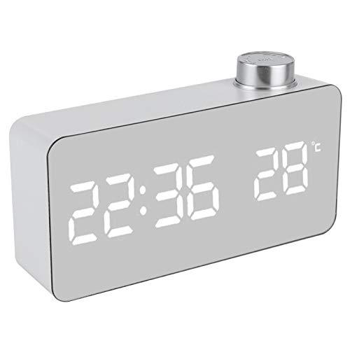 Cocosity Reloj Digital, Pantalla Led Reloj Despertador Digital Reloj Despertador ElectróNico USB PortáTil Reloj De Superficie De Espejo Multifuncional para Dormitorios, DecoracióN del Hogar