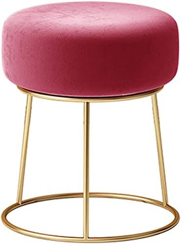 Taburete otomano para sofá, taburete redondo de maquillaje, taburete redondo con patas de metal, cojín de terciopelo suave, relleno con esponja de alta elasticidad, 40 x 40 x 42 cm (color rojo)