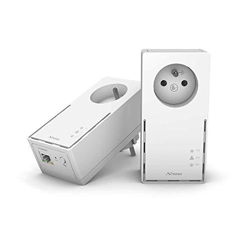 STRONG Pack de 2 Prises CPL 1000 Mbps, Prise filtrée et Port Ethernet, Compatible boxs Internet, Idéal Multi TV, Streaming HD, Aucune Configuration, Prêt à l'emploi