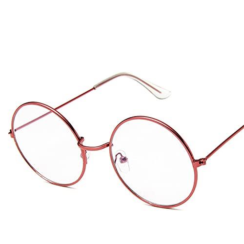 Secuos Moda Gafas De Sol Retro Redondas Rosas para Mujer, Gafas De Sol De Diseñador De Marca para Mujer, Espejo De Aleación, Negro para Mujer, 17Red-Trans