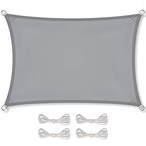 CelinaSun Sonnensegel inkl Befestigungsseile PES Polyester wasserabweisend imprägniert Rechteck 4 x 5 m hell grau