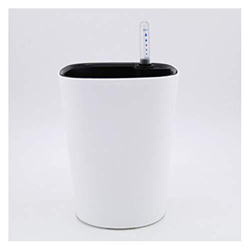 ZHEMAIE Maceteros Maceta de Flores Lazy Inteligente de absorción de Agua automático con medidor de Nivel de Agua de Resina de plástico Maceta de Flores en Maceta Cuadrada Cubierta (Color : White)