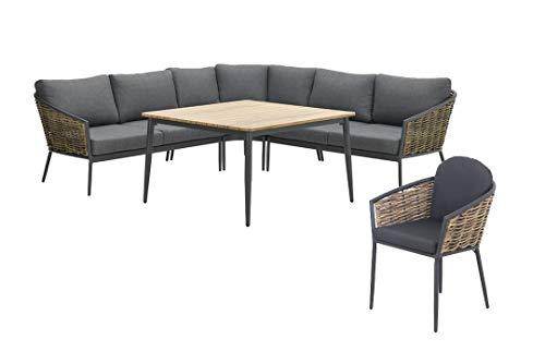 GMD Living Lounge- & Speisegruppen Möbel Bali Aluminium & Geflecht, verschied. Ausführungen, Ausführung:Sitzgruppe + 1 Sessel