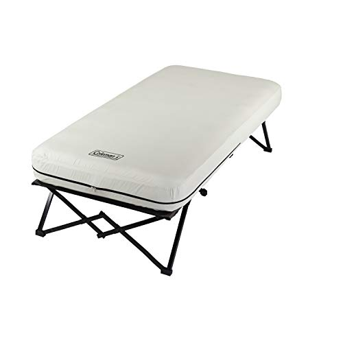 Coleman Twin Airbed Folding Cot with Side Table and 4D Battery Pump, White