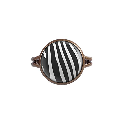 Mylery Ring mit Motiv Zebra Zebra-Muster gestreift schwarz weiß Bronze 14mm