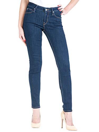 Lee Damen Jeans Jeanshose Scarlett - Skinny Fit - Blau - Solid Blue Grösse W24-W33 Stretch Baumwolle Normaler Bund, Größe:W 25 L 31, Farbauswahl:Solid Blue (AHKT)