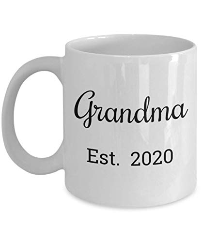 Grandma Est 2020 Mug - First Time Grandma Christmas Stocking Stuffer Gifts - Mugs are Best Gift for a Mom Promoted to a Grandparent - 11 oz Coffee Cup