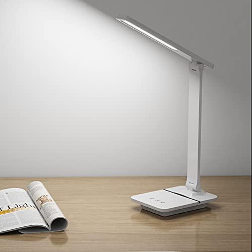 SOAIY Lámpara de mesa con Intensidades y Colores , Flexo escritorio para estudiar con Cargador USB, , Temporizador, Función de Memoria, Lámpara escritorio led para Estudiar y Trabajar