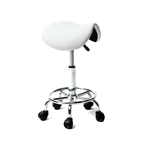 """Teeker Rolling Saddle Stool PU Leather Swivel Adjustable Rolling Stool for Medical Massage Salon Kitchen Spa Drafting,Adjustable Stool with Wheels w/Adjustable Height:(20-25.6)"""",Weight Capacity:260lb("""