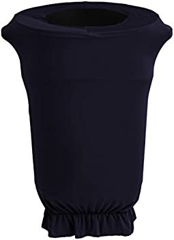 LA Linen Spandex Cover Fitted for 55 Gallon Trash can on Wheels Navy Blue