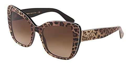Dolce and Gabbana (ドルチェ & ガッバーナ) DG4348 316313 レオブラウン ブラック DG4348 スクエア サングラス レンズ