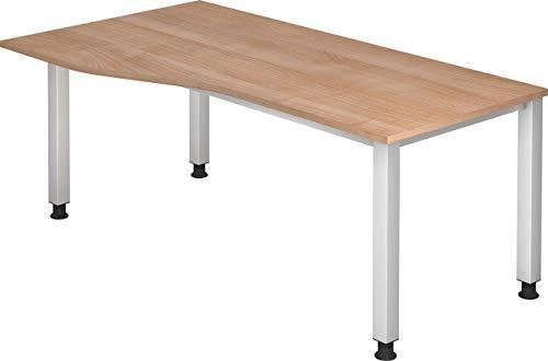 bümö® höhenverstellbarer Schreibtisch | Büroschreibtisch Profiqualität | Bürotisch in 6 Dekoren & 7 Varianten verfügbar (Nussbaum, Freiform: 180x100 cm)