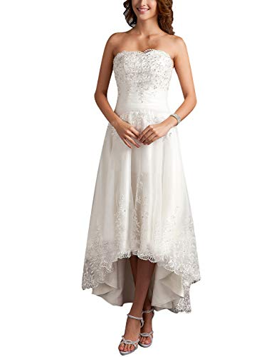 HUINI Brautkleider Damen Glitzer Hochzeitskleid Standesamt Spitzenkleid Lang Brautmode Schulterfrei Elfenbein 44