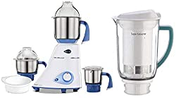 Preethi Blue Leaf Diamond 750-Watt Mixer Grinder with 3 Jars, Blue/White + Super Extractor MGA510 Jar Combo