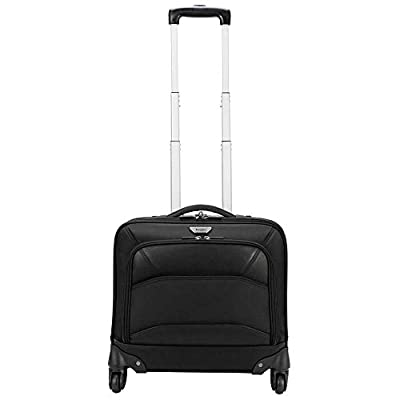 Targus Mobile-VIP 4-Wheeled Business & Overnight Rolling Case with Water Resistant Material, Leatherette Accents, Zip down Organizer, Padded Protection fits 15.6-Inch Laptop/Notebook, Black (TBR022)