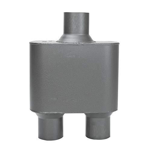 Universal Muffler 2.5' Center Inlet 2.5' Dual Outlet Aluminized Steel 2.5 Inch Exhaust Race Muffler Aggressive Sound 12' Overall Length Black