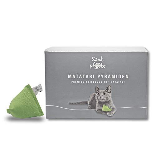 Samtpfote® Matatabi Pirámide – Juguete para gatos relleno con palillos Matatabi y algodón – Calidad premium