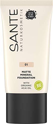 SANTE Naturkosmetik Matte Mineral Foundation 01 Warm Linen, Heller Hautton, Mattes Finish, Natural Make-Up, Vegan, 30ml