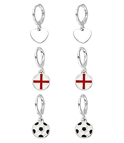 SIX England Ohrschmuck-Set, Fußball, Herz, Fanartikel, Accessoire zur Europameisterschaft, Nationalelf, EM (679-870)