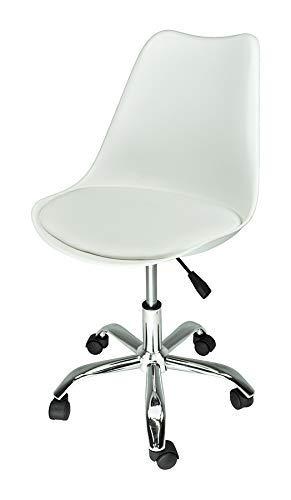 Sedia da Ufficio Girevole, Sedia da scrivania Bianca con rotelle MOD. Sally