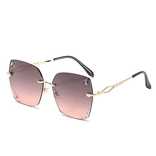 Gafas de sol personalizadas Moda Gafas sin montura All-Match Cut-Cut Sunglasses Mujeres y hombres Tomar fotos Pesca de viajes al aire libre (Color : E)