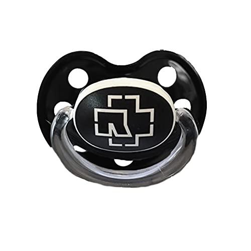 Rammstein Baby Schnuller schwarzer Beruhigungssauger Nuckel mit weißem Logo, Offizielles Band Merchandise
