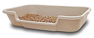 "Kitty Go Here Senior Cat Litter Box 24"" x 20"" x 5"" Beach Sand Color. Opening is 12"" Wide and 3"" from The Floor. Made in The USA are Available Under PuppyGoHere."