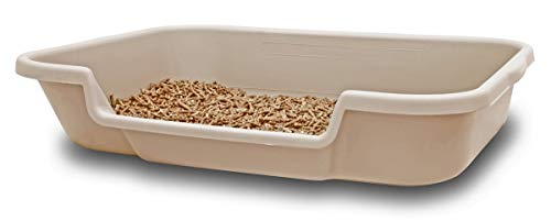 "KittyGoHere Senior Cat Litter Box 24"" x 20"" x 5"". Sand color. Opening is 12"" wide and 3"" from the floor. MADE IN THE USA. Other colors are available under PuppyGoHere."