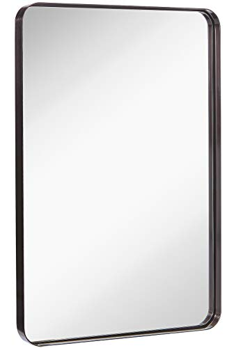 Hamilton Hills Contemporary Brushed Metal Wall Mirror | Glass Panel Black Framed Rounded Corner Deep Set Design | Mirrored Rectangle Hangs Horizontal or Vertical (24' x 36')