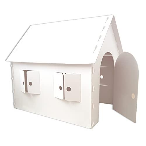 MyPlugi – Spielhaus für Kinder aus stabiler, weißer Pappe / Karton, Stecksystem, zum Spielen, Malen, Dekorieren, Bekleben, Maße (L) 100 x (B) 76 x (H) 100 cm
