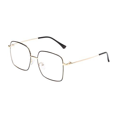 JINSUO Gafas de Marco de aleación Gafas de Ojo llenas de rotones Unisex Anti-BlueRay y Myopia Gafas Bisagras de Primavera Bisagras Fotocromáticas Lentes (Color : Black Gold)