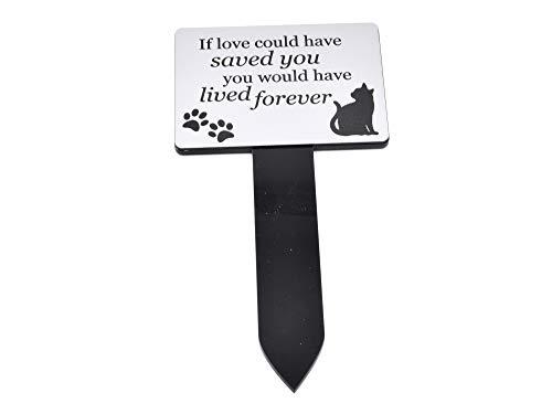 OriginDesigned Estaca conmemorativa de gato plateado y negro – Jardín al aire libre impermeable (vida eterna)