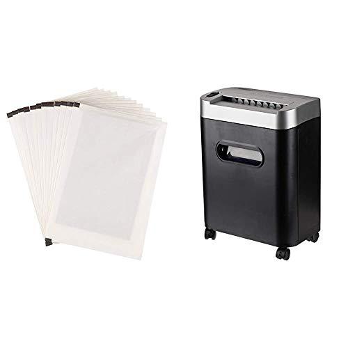 AmazonBasics - Destructora de papel, tarjetas de crédito y CD con recipiente separable (microcorte, capacidad de hasta 8 hojas), negro + Hojas para lubricar y afilar trituradoras - Pack de 12