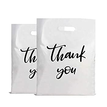 Kodiak Supplies 100 Thank You Plastic Bags 13x16 Die Cut Handles Gift Bags Retail Shopping Merchandise Bags Extra Thick 2.36 Mil Reusable Plastic Bags for Business White