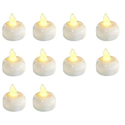 QCSTORE 12 Pcs Waterproof Flameless Floating LED Candles Floating Tealights Pool Lights Battery Flickering LED Tea Lights Candles