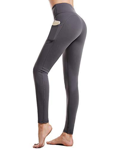 CAMBIVO Leggings Damen lang, Sporthose Yogahose Fitnesshose High Waist, Sporteggins mit Handytasche, Laufhose Blickdicht für Sport, Fitness, Yoga, Training, täglichen Gebrauch(Grau, M)