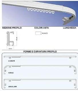 Carrello SCORRITENDA in Alluminio Bianco con TIRO A Corda Bastone per Tenda Curvo L.160 Montaggio A SOFFITTO Apertura Centrale E Comando A DX Binario CASA FIORENTINA RILOGA
