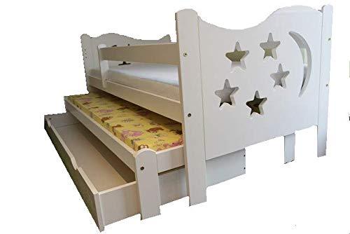 LULU MÖBEL Chrisi Kinderbett Doppel 2in1 Jugendbett Juniorbett Bett. Kiefernholz Massivholz inkl. 2 x Matratze und Schublade. (Weiß, 165x80)