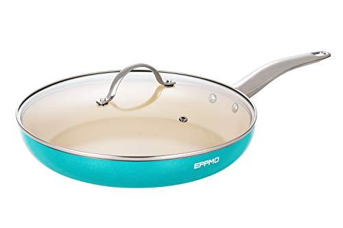 EPPMO 30 cm Sartén antiadherente de Aluminio con Tapa sin PFOA, Sartén de Cerámica para Lavavajillas y Horno, Apta para Todo Tipo de Cocinas Incluido Inducción, Color de Tiffany Azul