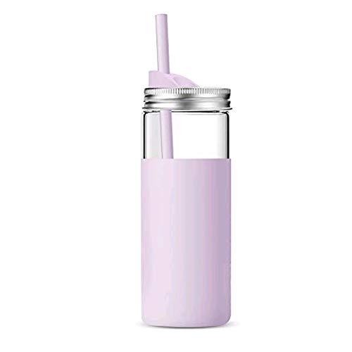 tronco 20Oz Borosilicate Glass Tumbler Bottle with Unbreakable Metal Mason Jar Style Lid and Protective Silicone Sleeve -BPA-Free