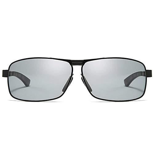 TYXL Sunglasses Caja Nuevo Antideslumbrante Material Metálico UV400 Gafas De Sol Negro/Plata/Armazón De Pistola Hombres Conduciendo Conduciendo Gafas De Sol (Color : Black)