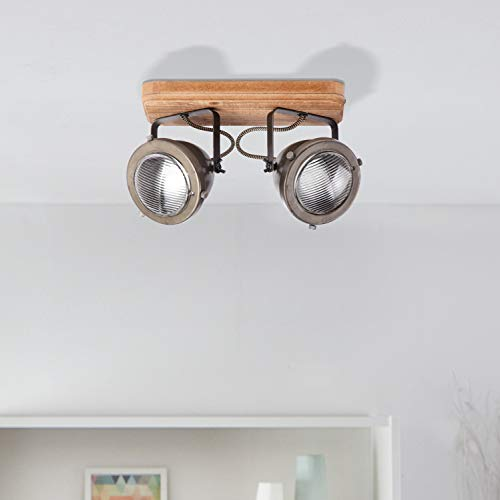 Lightbox - Lámpara de techo retro de 2 focos, orientable, 2 casquillos GU10, para máx. 5 W, metal, acero marrón Clase de eficiencia energética A++