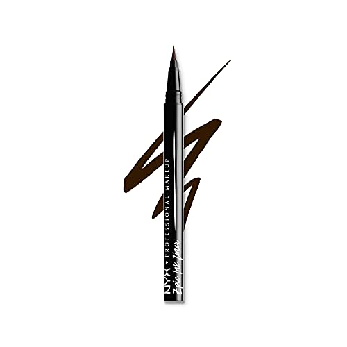 NYX Professional Makeup Delineador de ojos Epic Ink Liner, Punta de pincel, Resistente al agua, Fórmula vegana, Marrón
