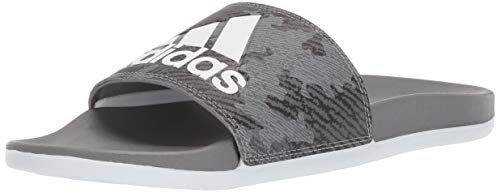 adidas Men's Adilette Comfort Sandal, Grey/White/Grey/Grey, 10