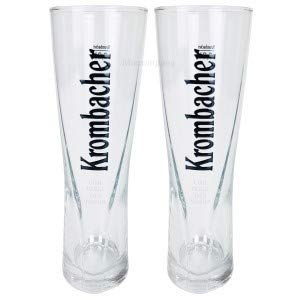 Krombacher Gläser Set - 2X Biergläser 0,2l geeicht Black Star Cup Bierglas Gastro Bar Glas Bier