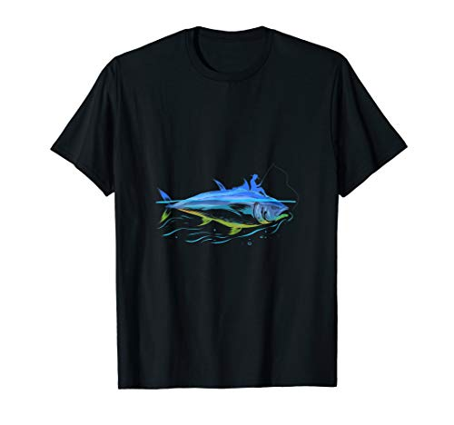 Thunfisch Angler mit Angelrute Geschenk für Fischer Angeln T-Shirt